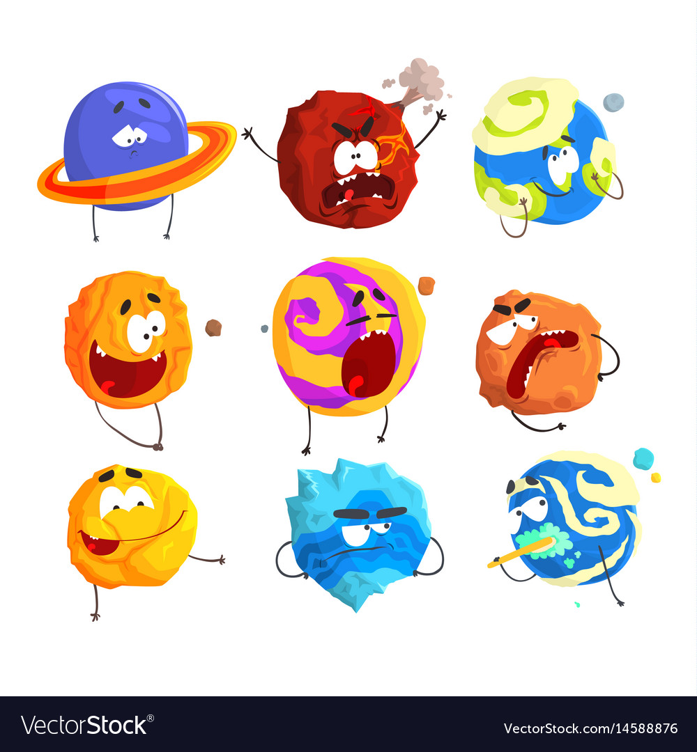Colorful cartoon planets with funny faces and