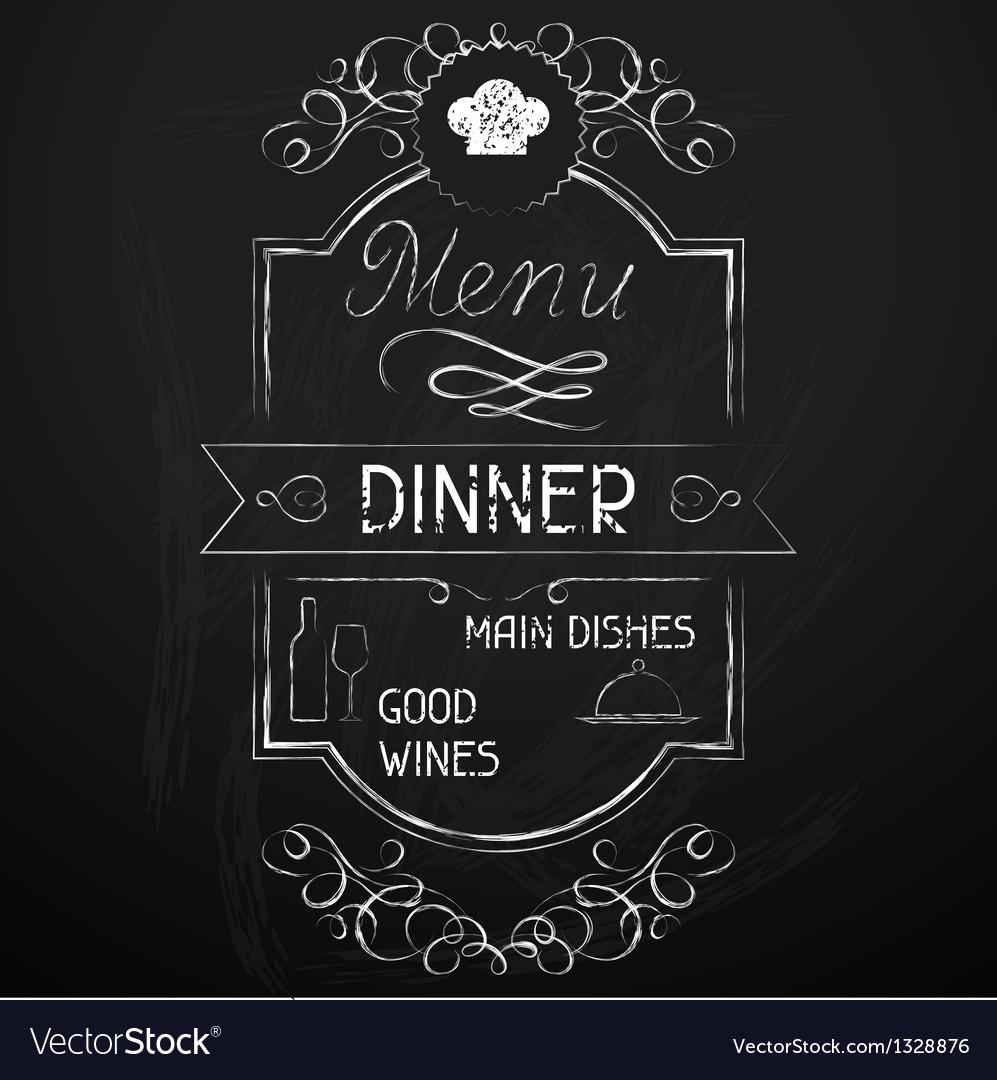 Dinner on the restaurant menu chalkboard vector image