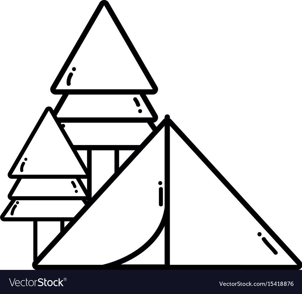 Line camp with trees and natural adventure vector image