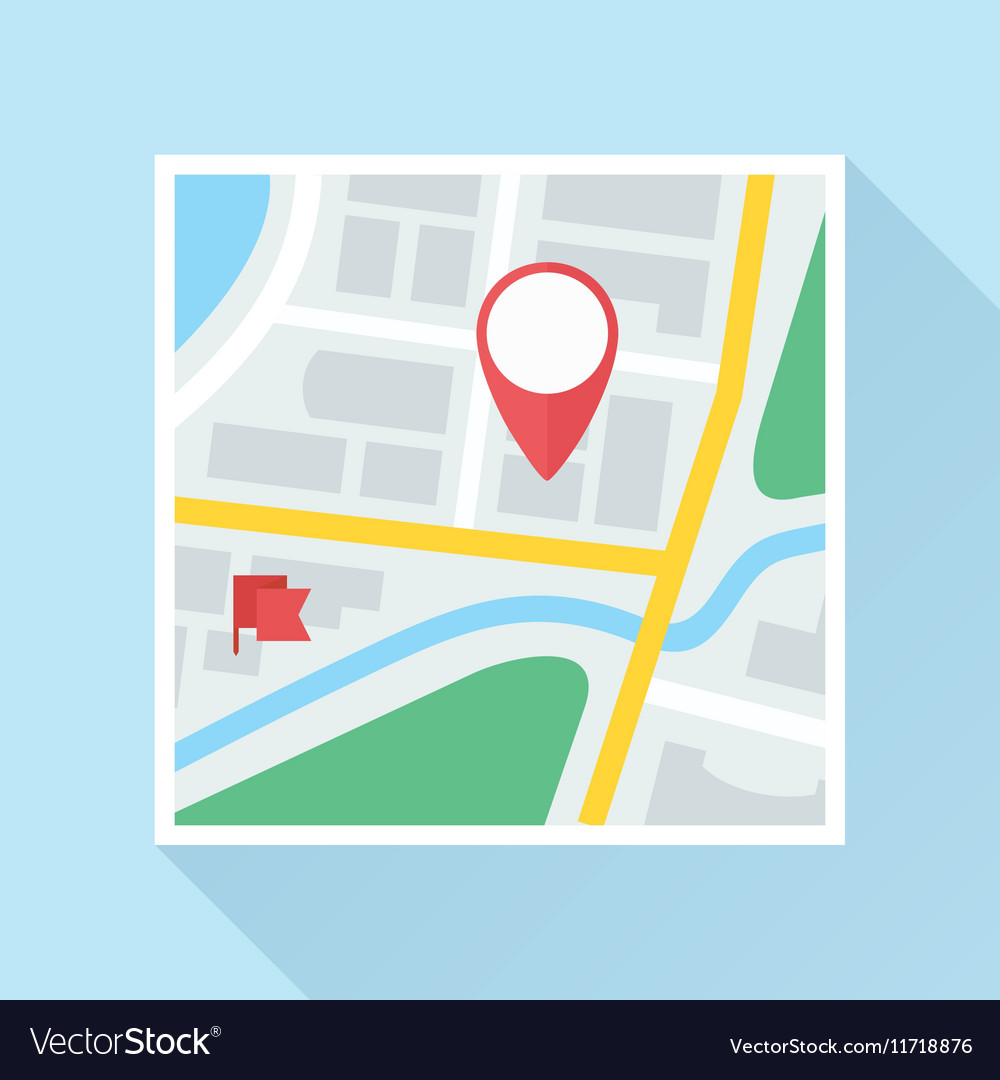 Map with Location Mark Flat Icon