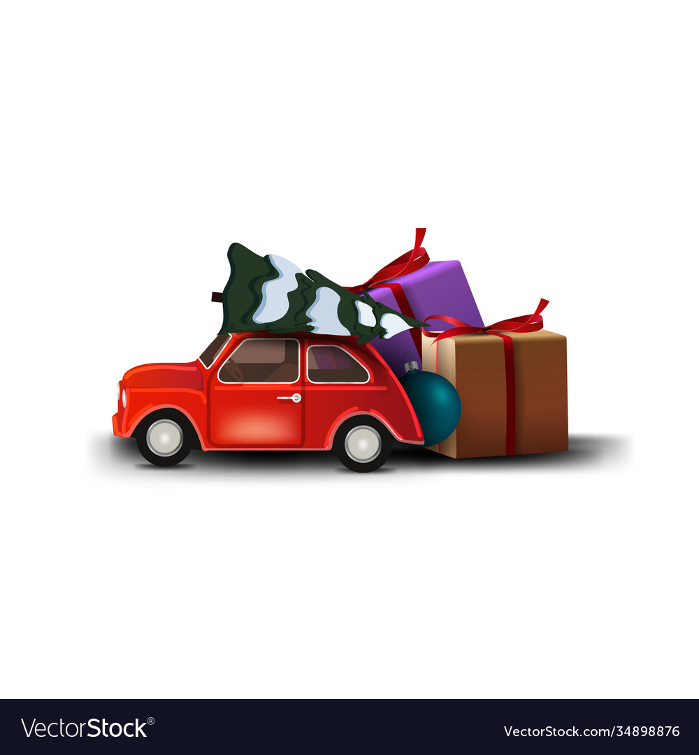 Red Vintage Car Carrying Christmas Tree Isolated Vector Image