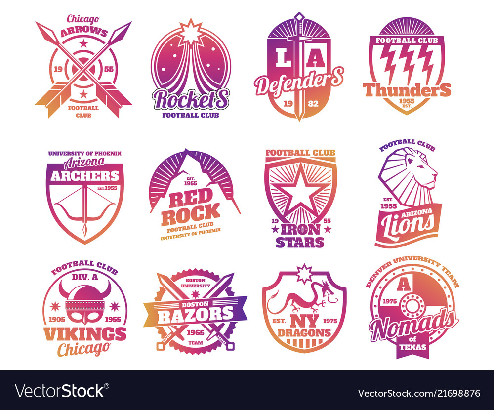 School emblems college athletic teams sports