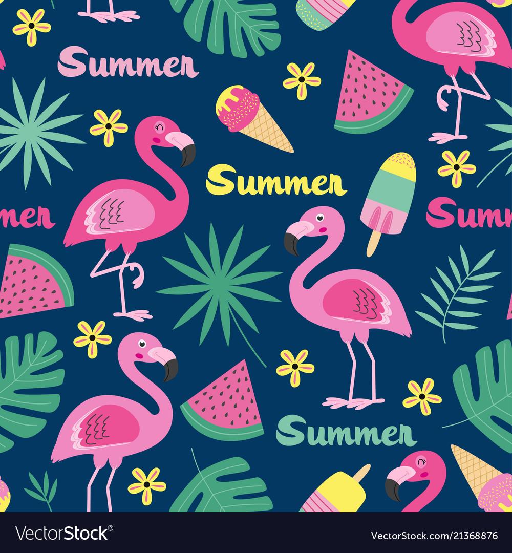 Seamless pattern with flamingo ice cream