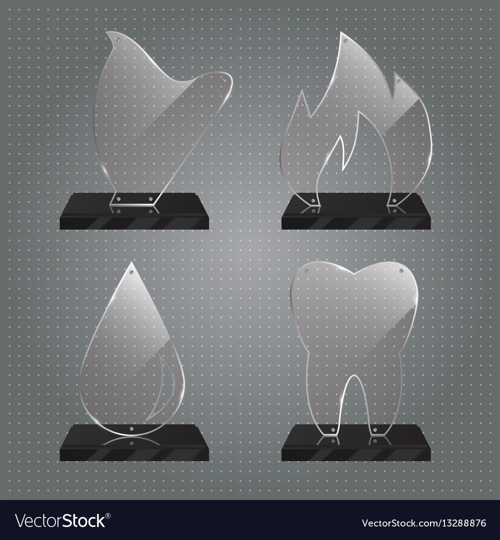 Set of realistic glass trophy awards