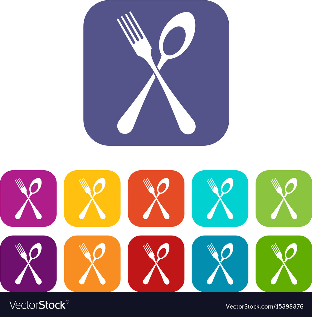 Spoon and fork icons set vector image
