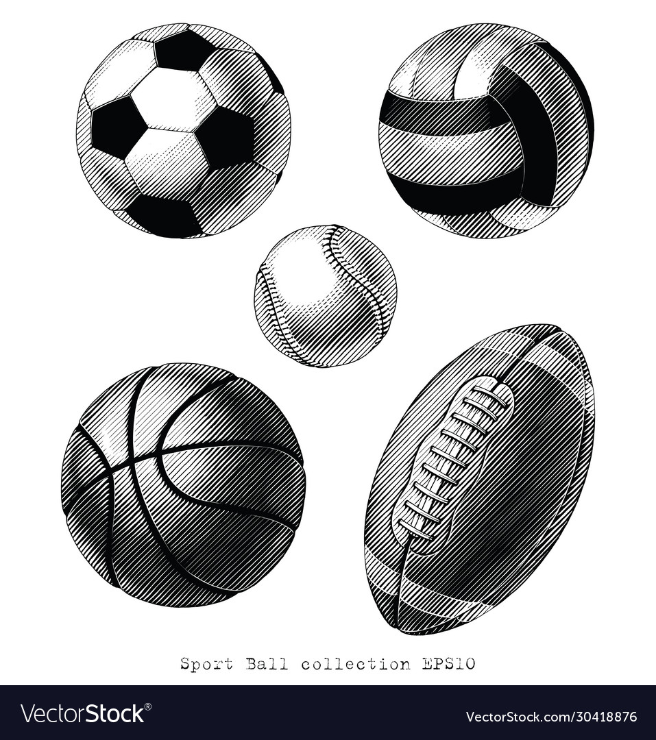 Sport ball collection hand draw vintage style