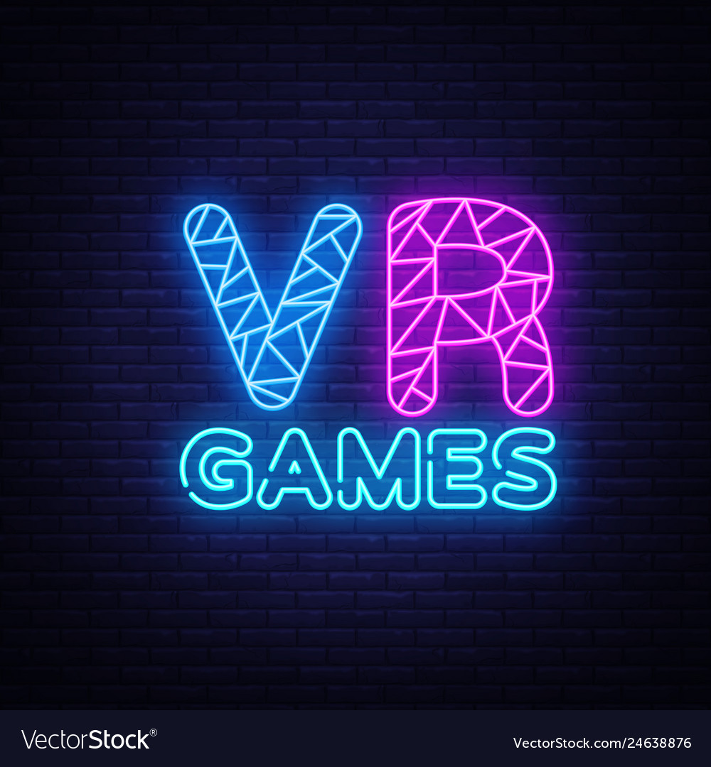 Vr gamer neon text design template gaming