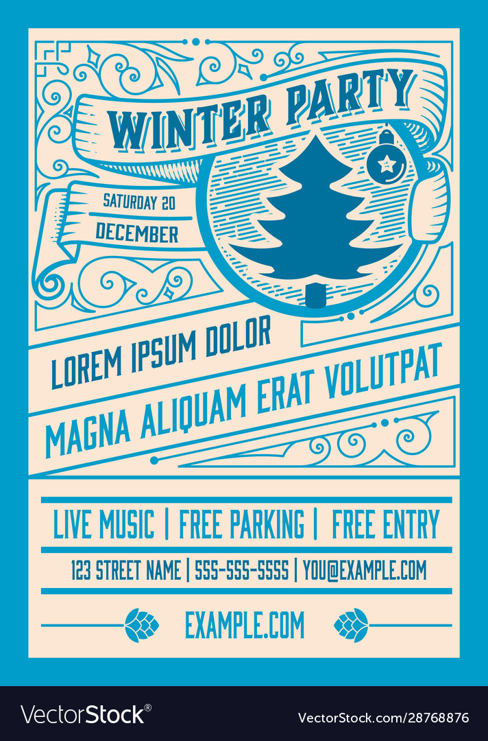 Winter party flyer retro typography and ornament