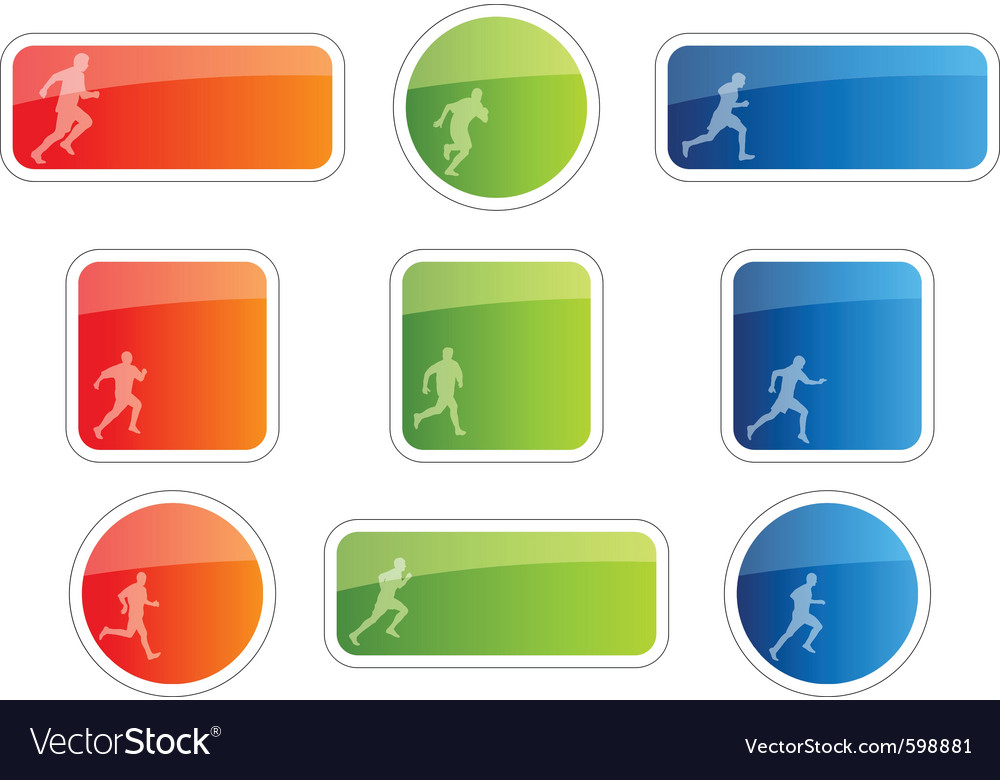 Color stickers with runner symbol vector image