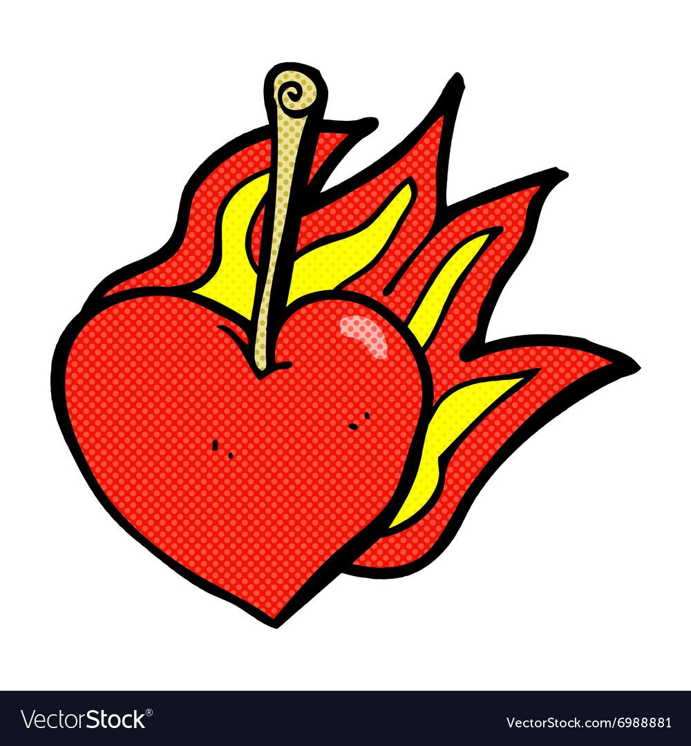 e9d59cb1d5e8 Comic cartoon flaming heart cherry Royalty Free Vector Image