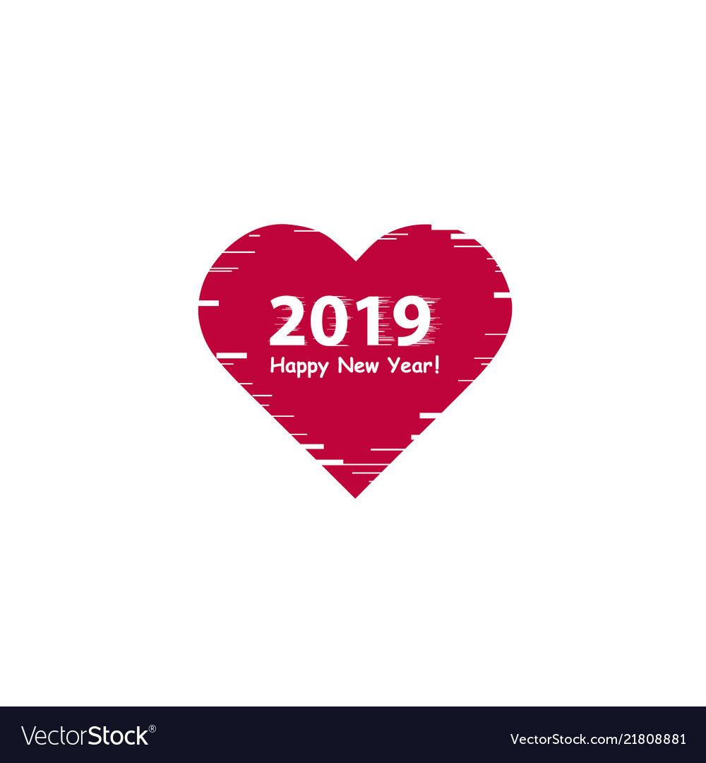Creative happy new year 2019 design with line art