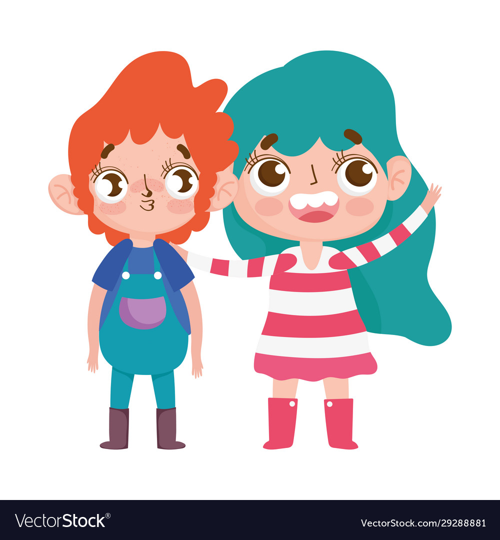 Cute little boy and girl expression facial gesture
