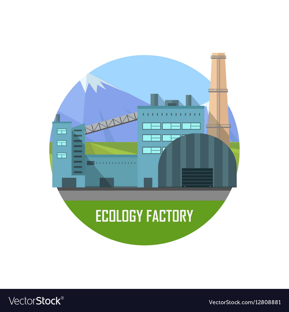 Ecology Factory Eco Plant Icon in Flat Style