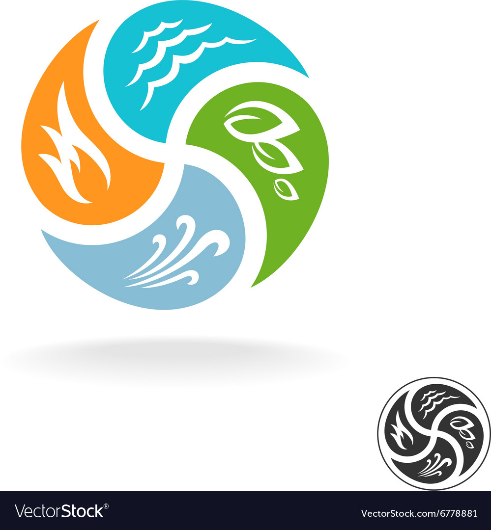 Four natural elements logo Fire water air wind and