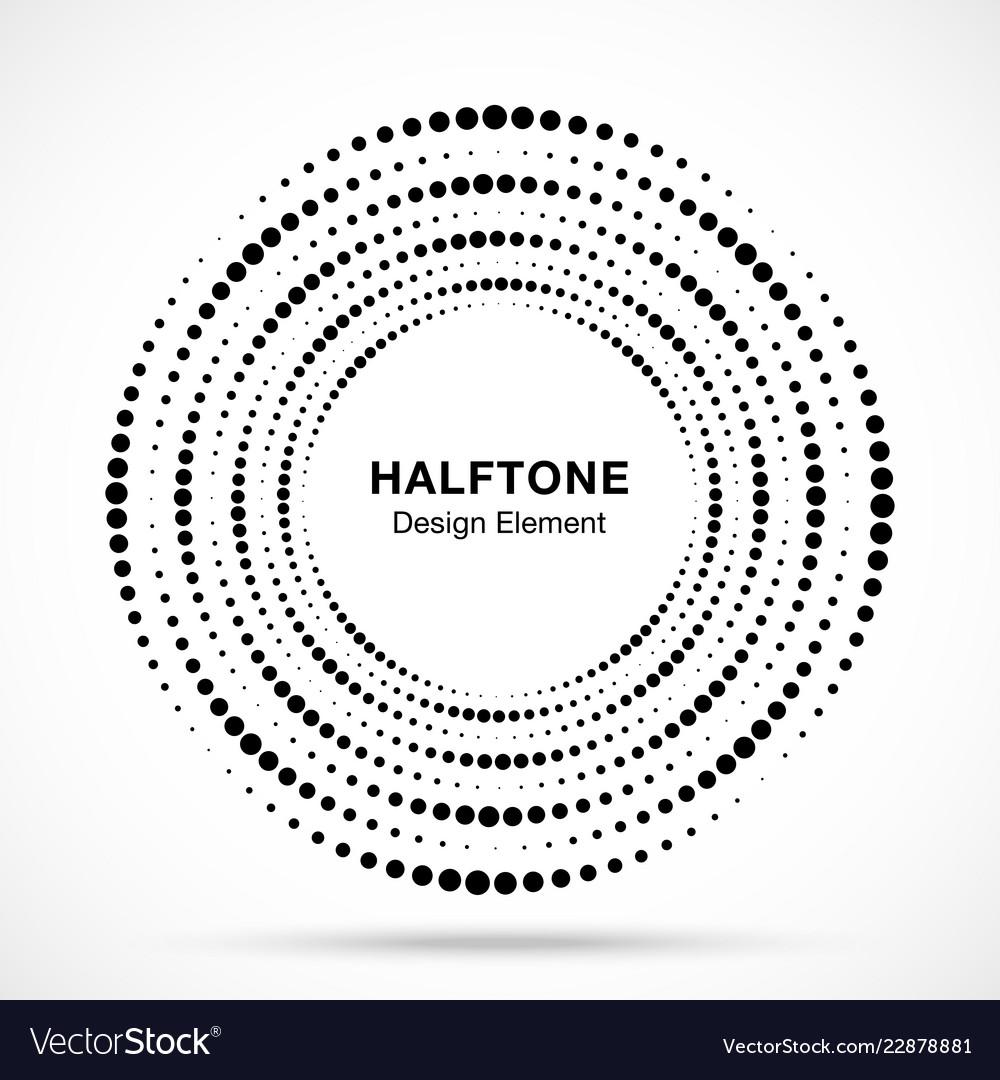 Halftone circular vortex dotted frame circle swirl