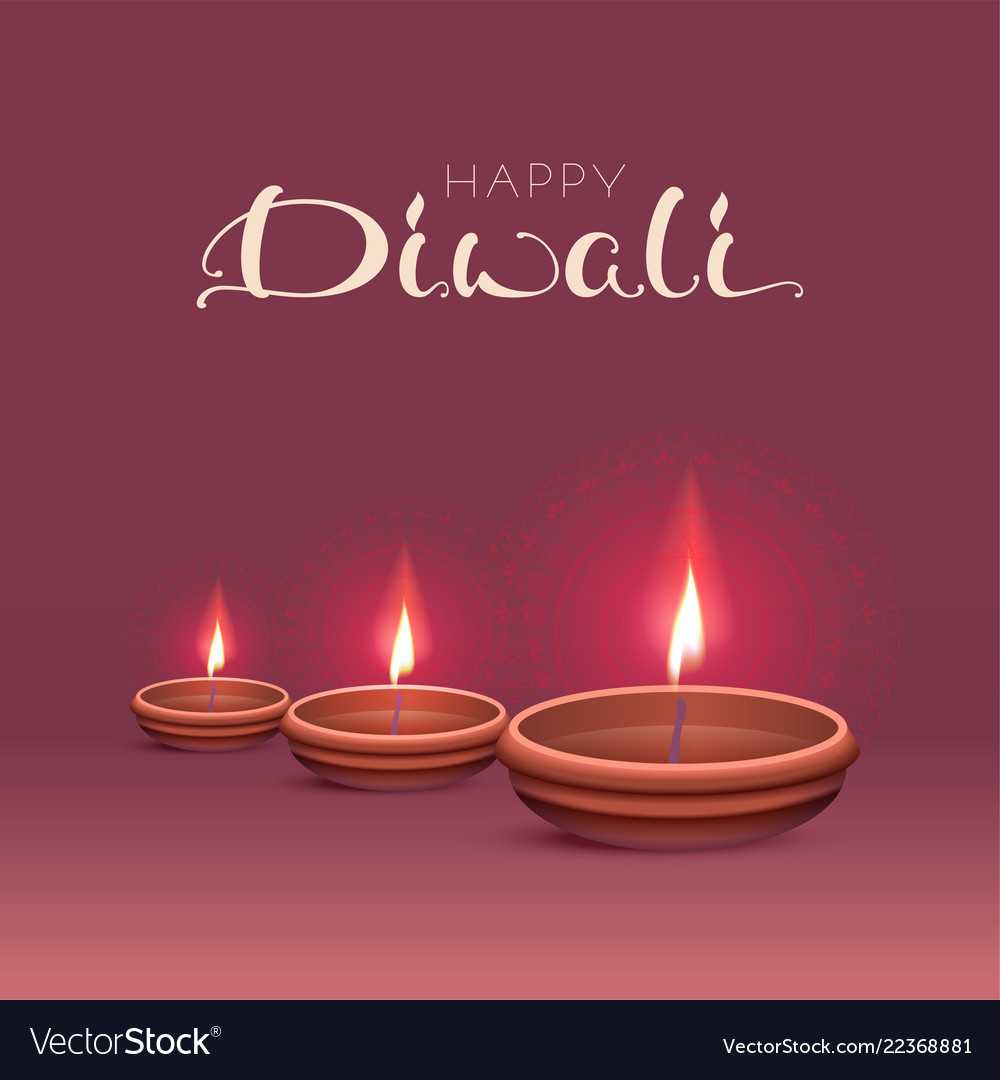 Happy diwali text greeting card indian festival