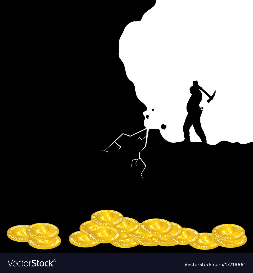Mining bitcoin icon with man silhouette vector image