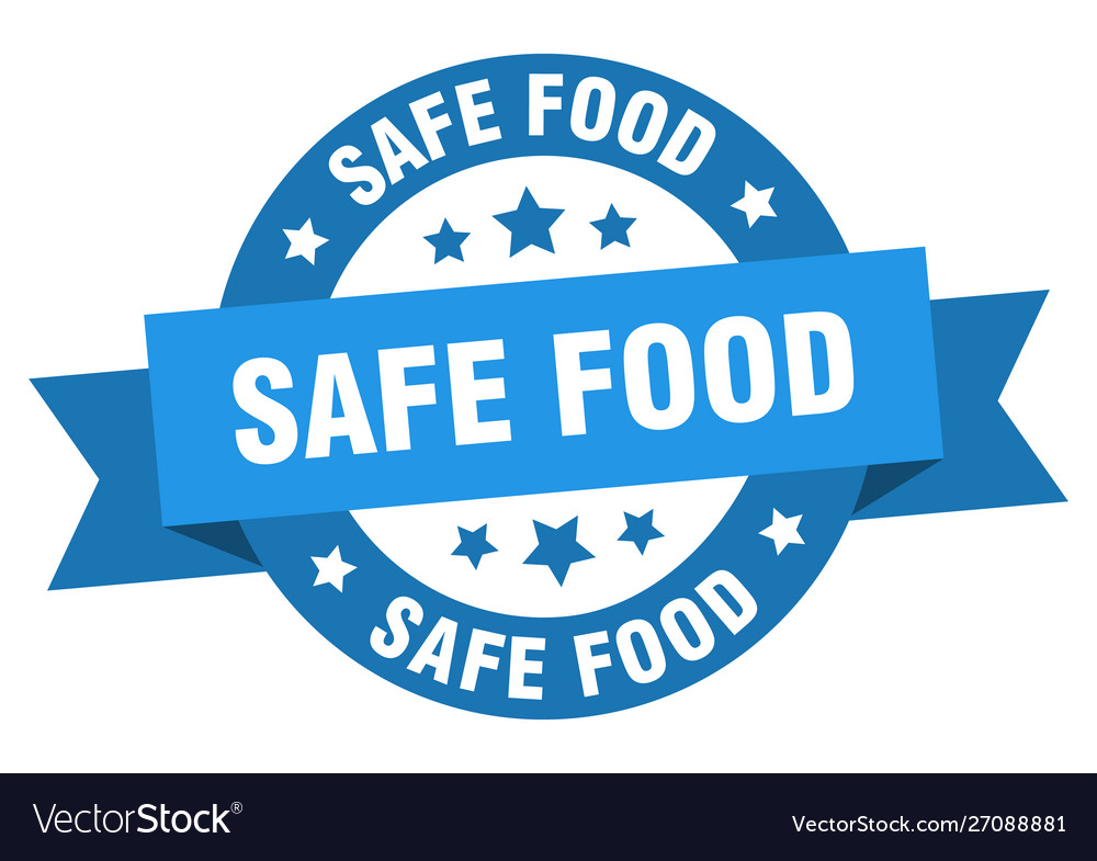 Safe food ribbon safe food round blue sign safe