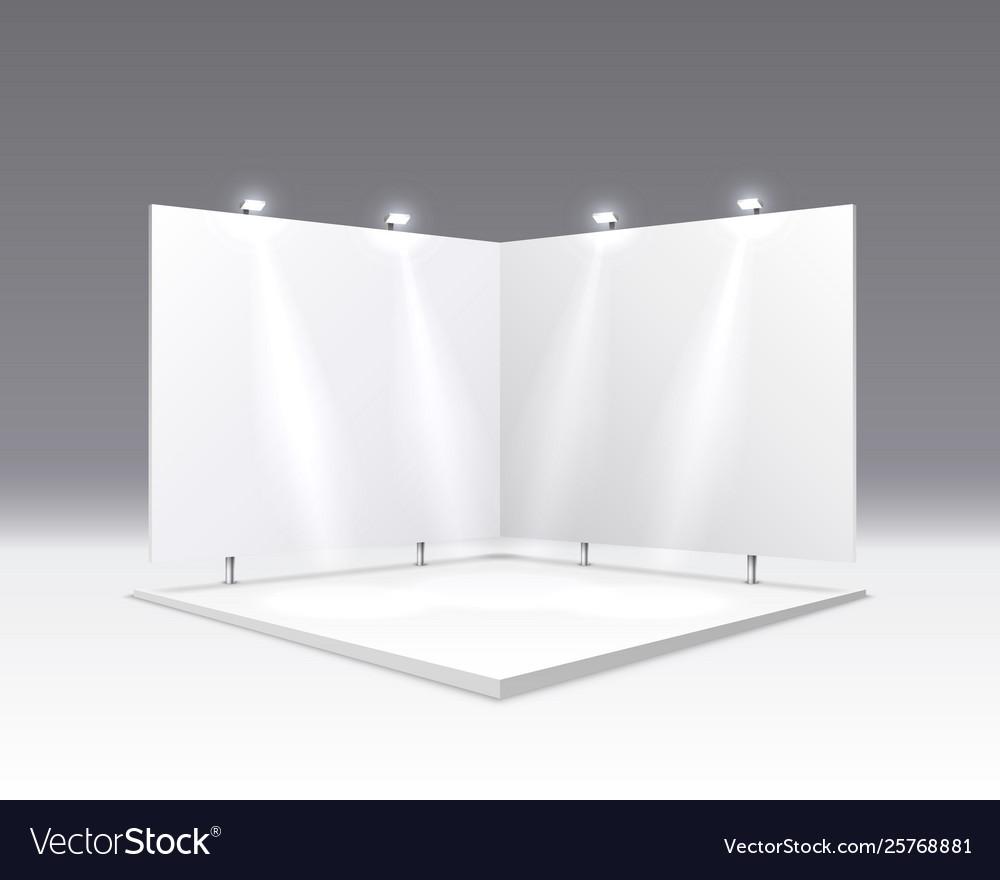 Scene show podium for presentations on gray
