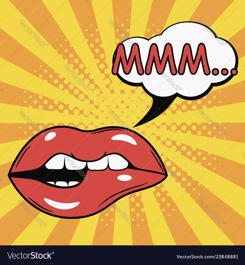 Sexy female bite lips with speech bubble