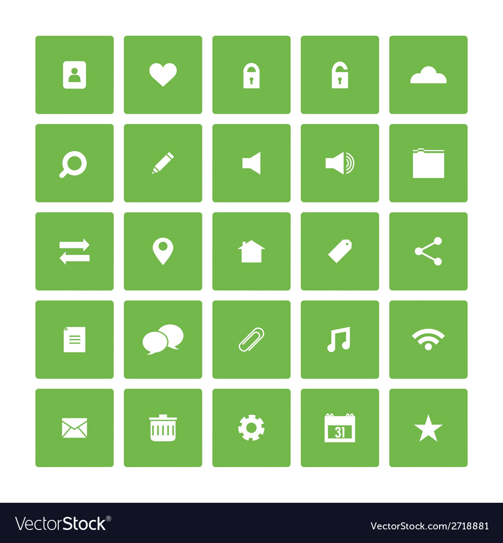 Square Flat Website Icons Set