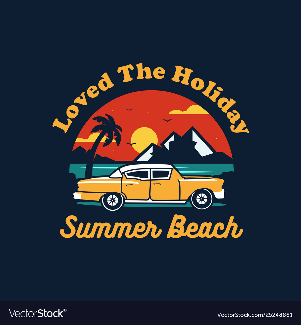 Summer car design with colorful beach elements
