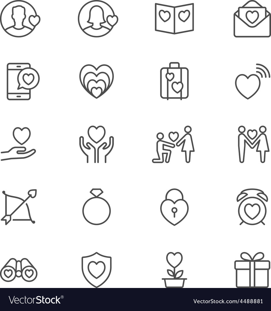 Valentines day thin icons