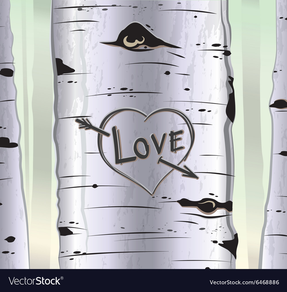 Birch tree card with heart and carved text love