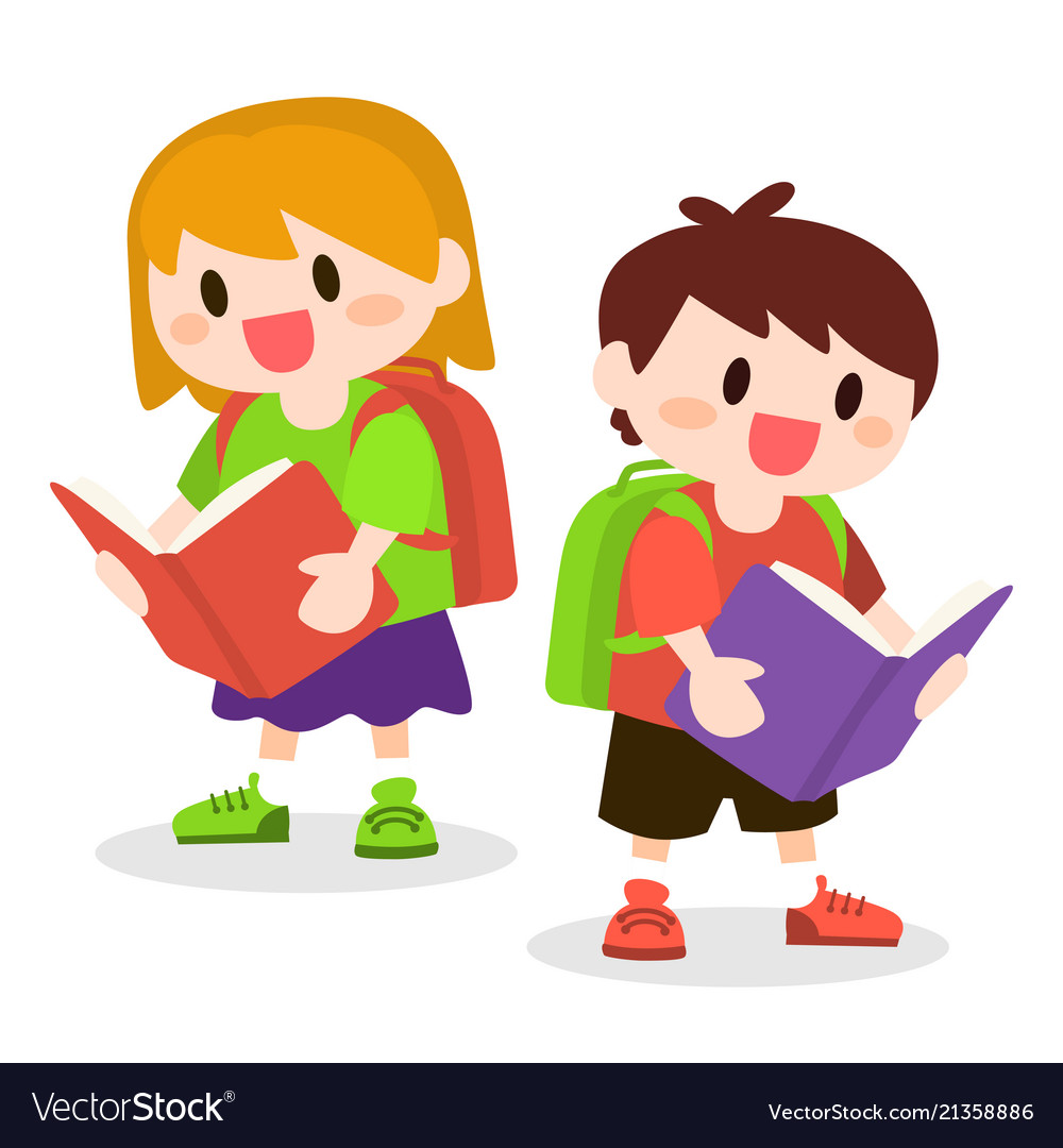 Children with school bag reading books