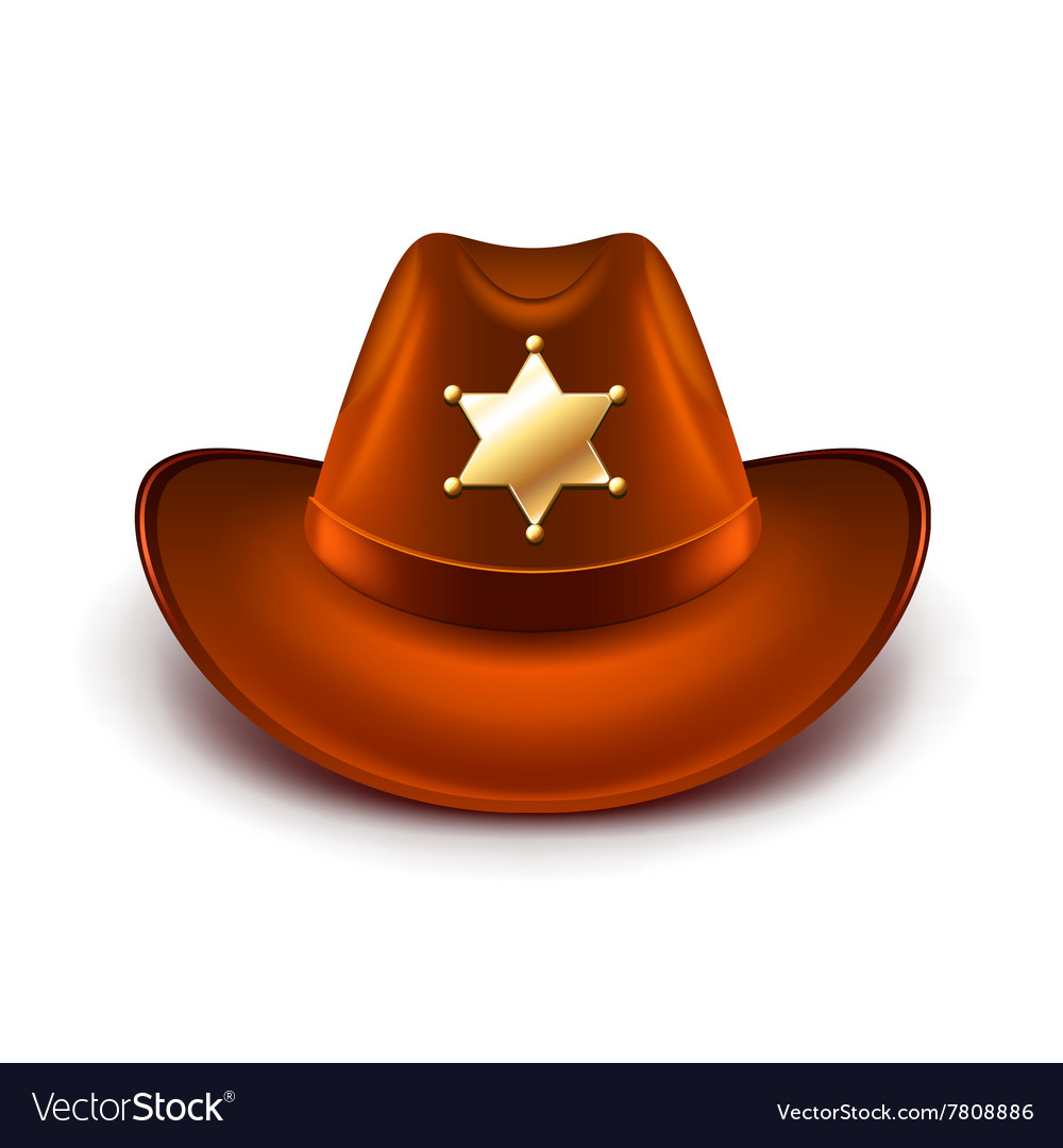 9549472b62d Cowboy hat with sheriff badge isolated Royalty Free Vector