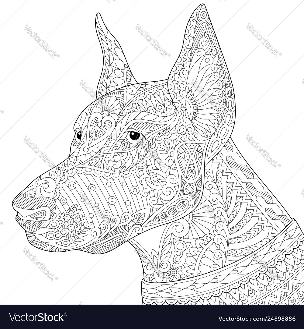 Doberman pinscher dog adult coloring page