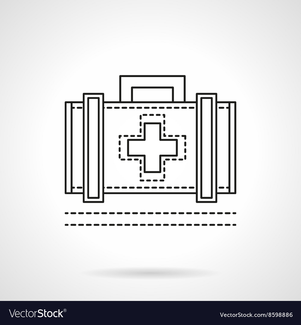 Doctor case flat line icon