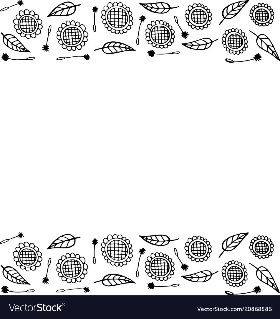 Doodle frame with sunflowers coloring page for