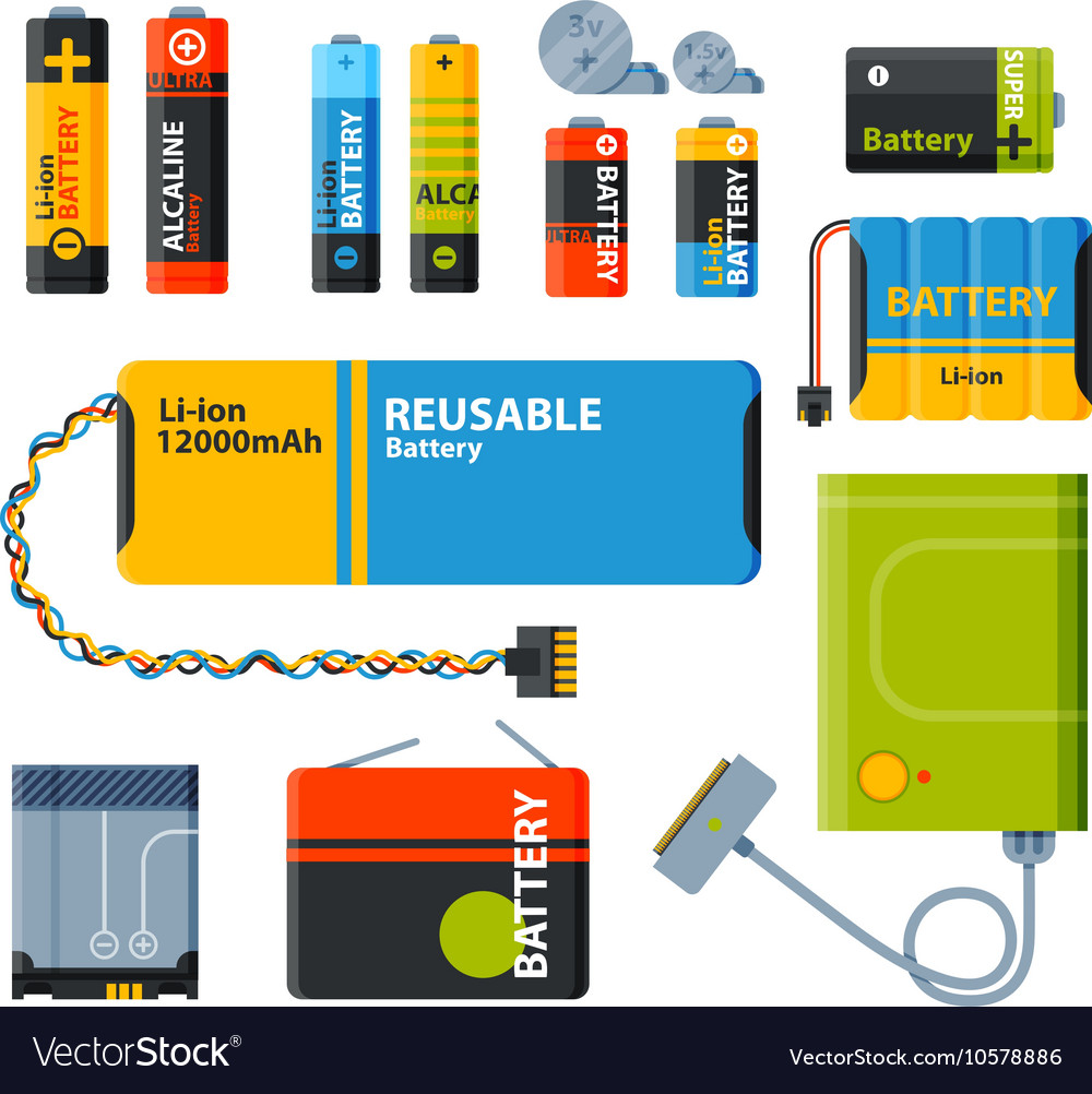 Group of different batteries icons