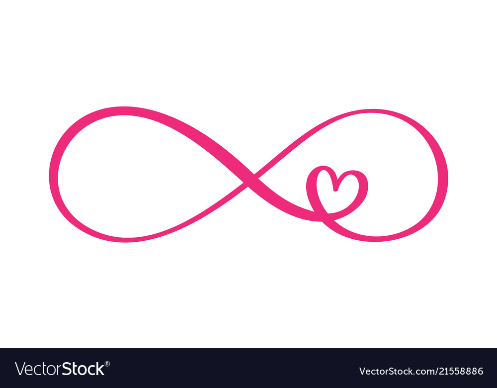 3a67be2438fe3 Love word in the sign of infinity sign on vector image