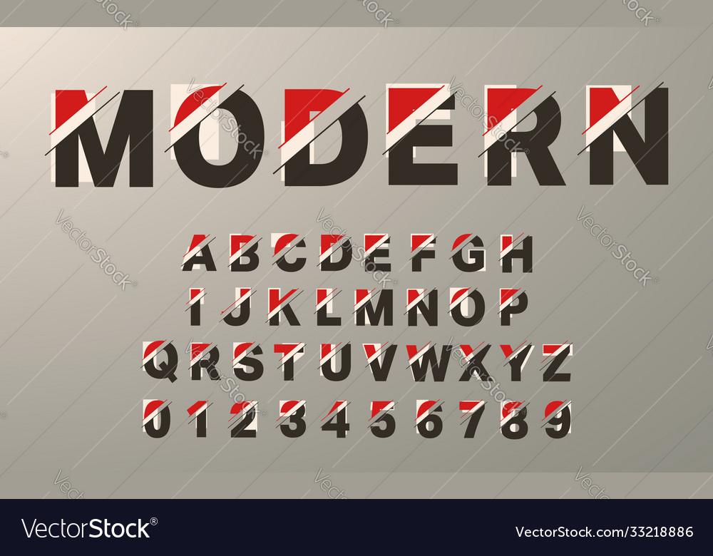 Modern alphabet template glitch typography