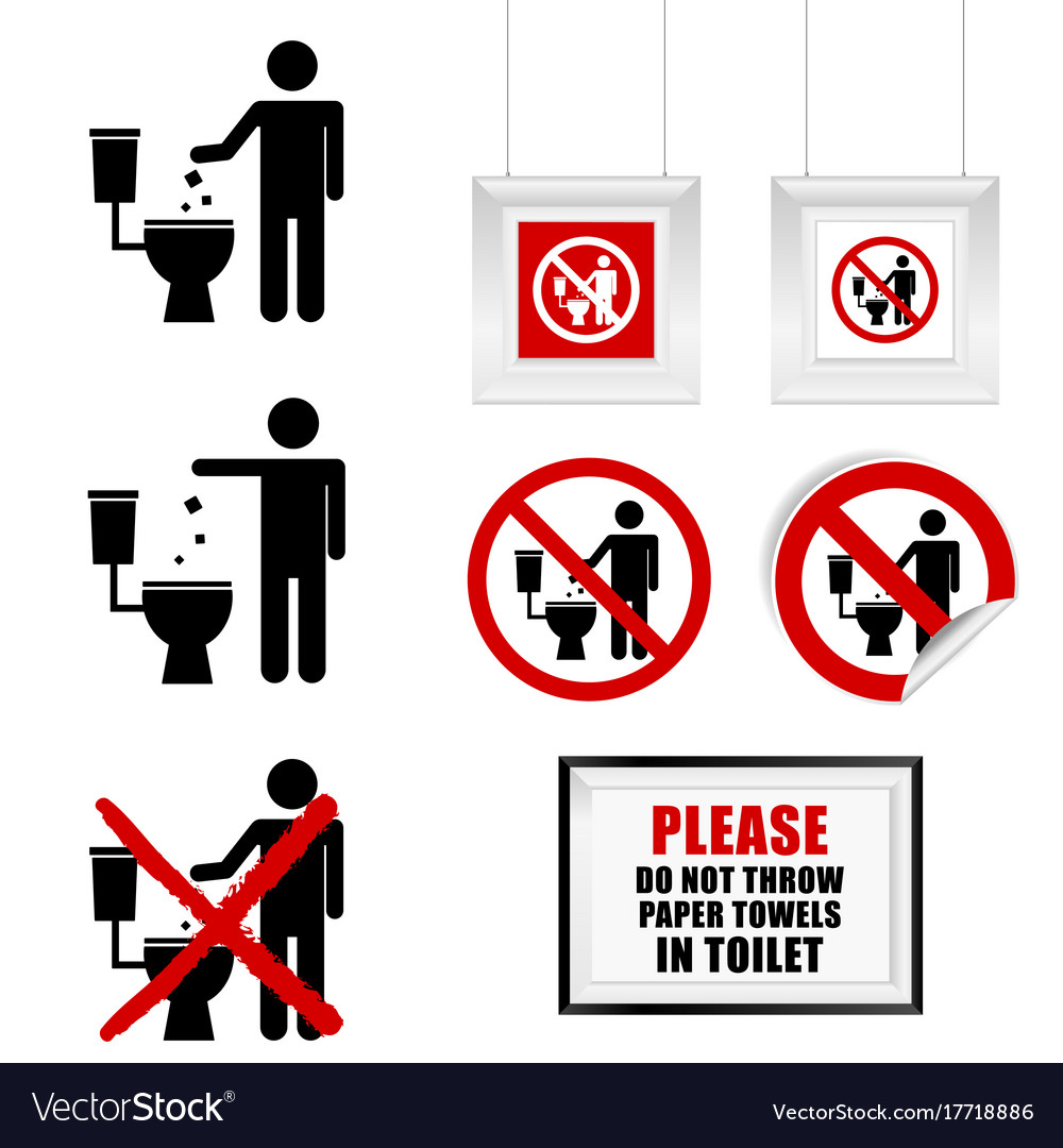 Fresh No throw paper towels in toilet sign set Vector Image SU39