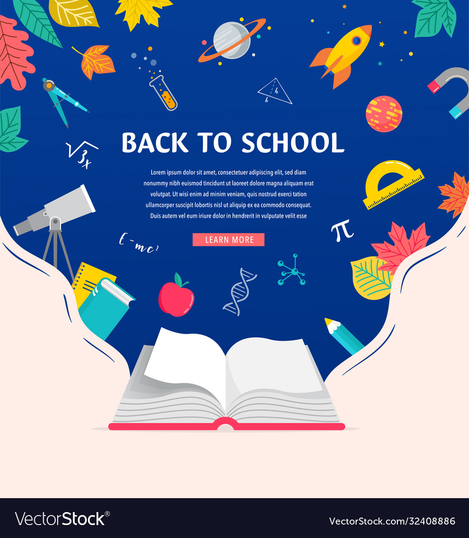 Open book back to school concept