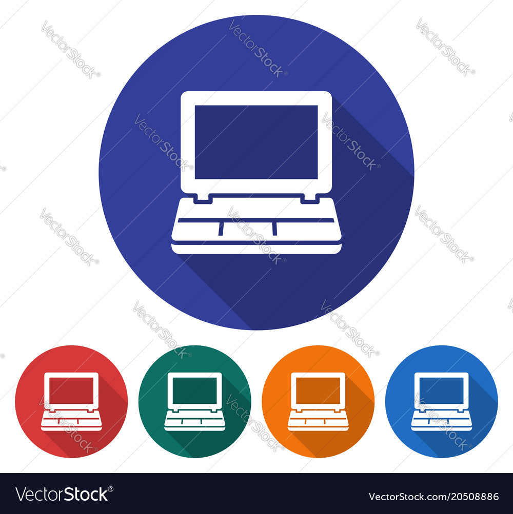 Round icon of laptop flat style with long shadow