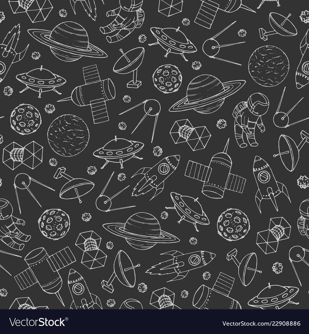 Seamless pattern with cosmonauts rockets ufo