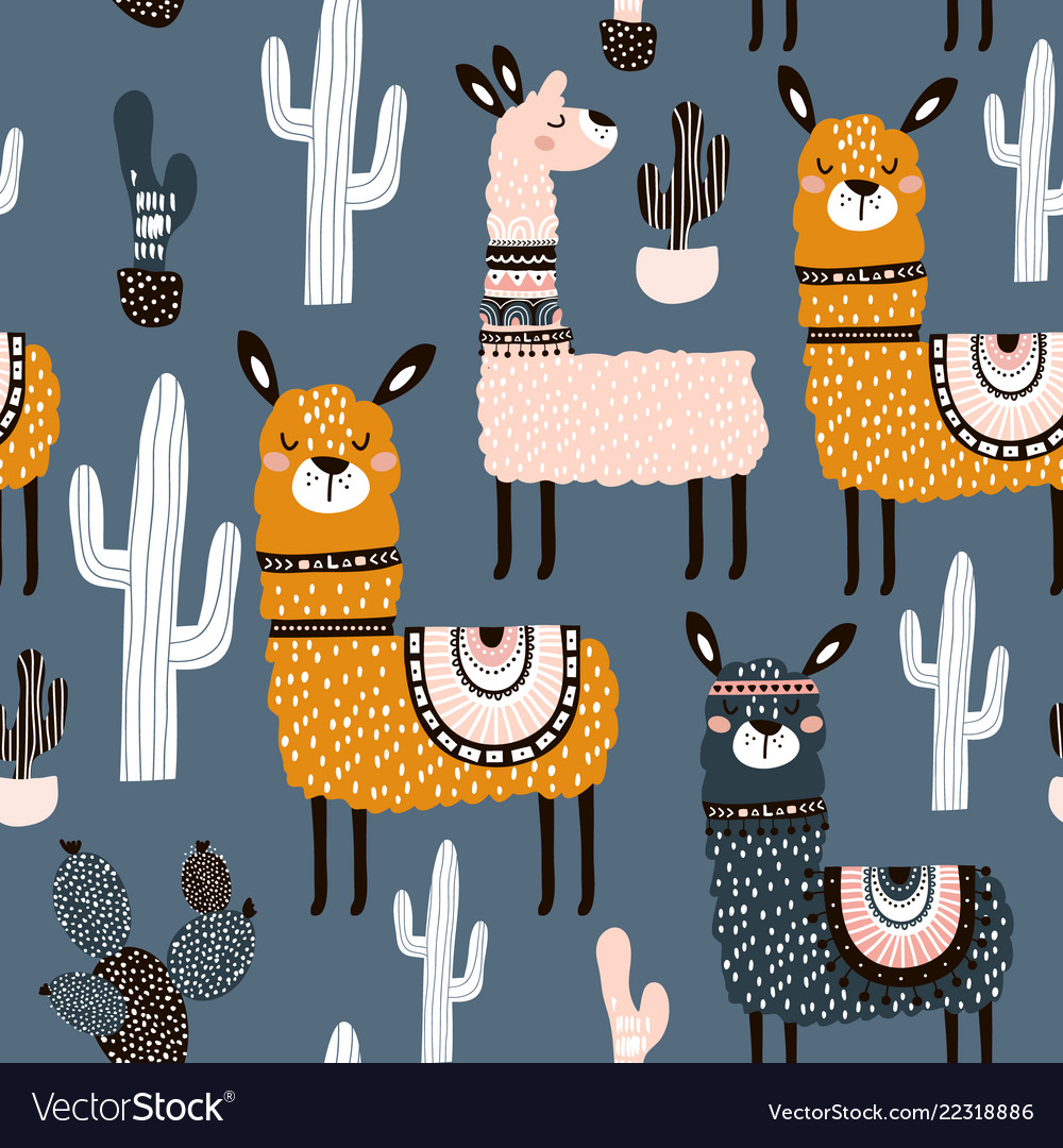 Seamless pattern with cute llamas ans cactuses