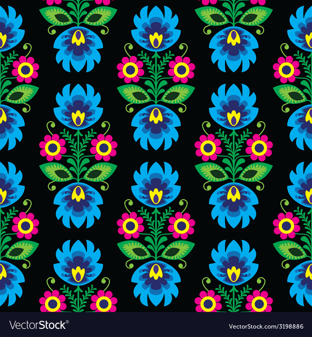 Seamless traditional floral Polish folk pattern