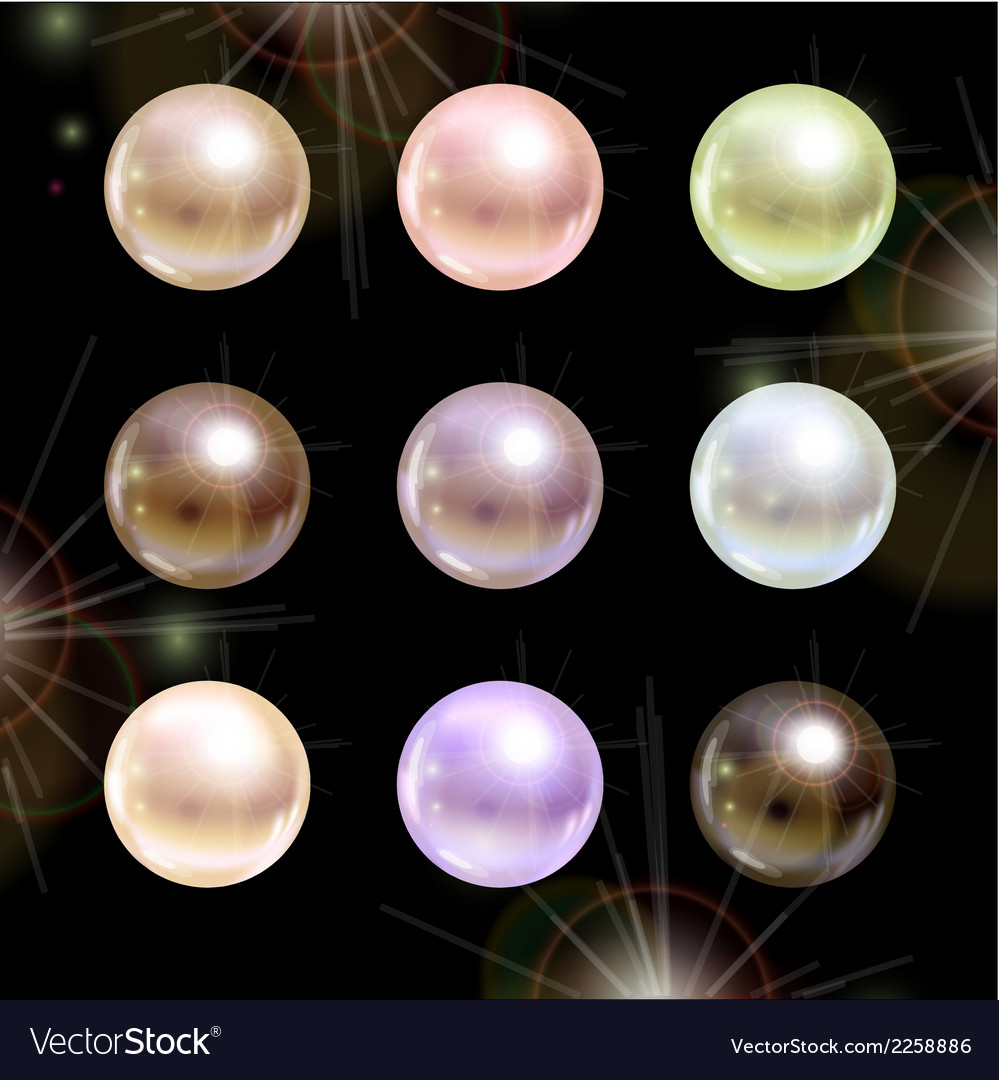 Shinyl pearls on black background set vector image