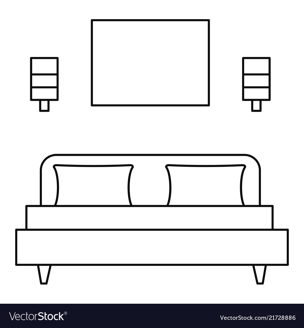 Sleeping room bed icon outline style