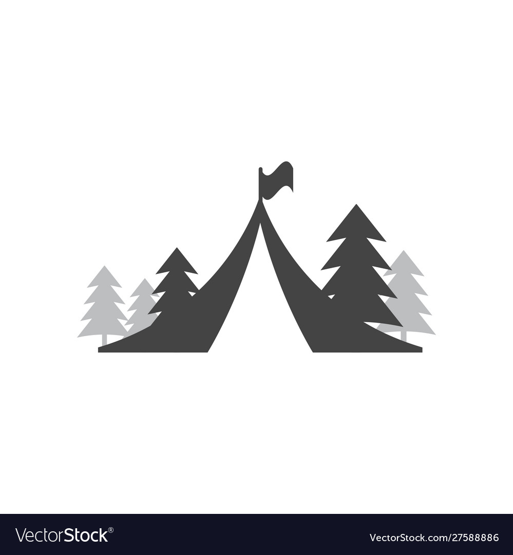 Tent camping icon design template isolated