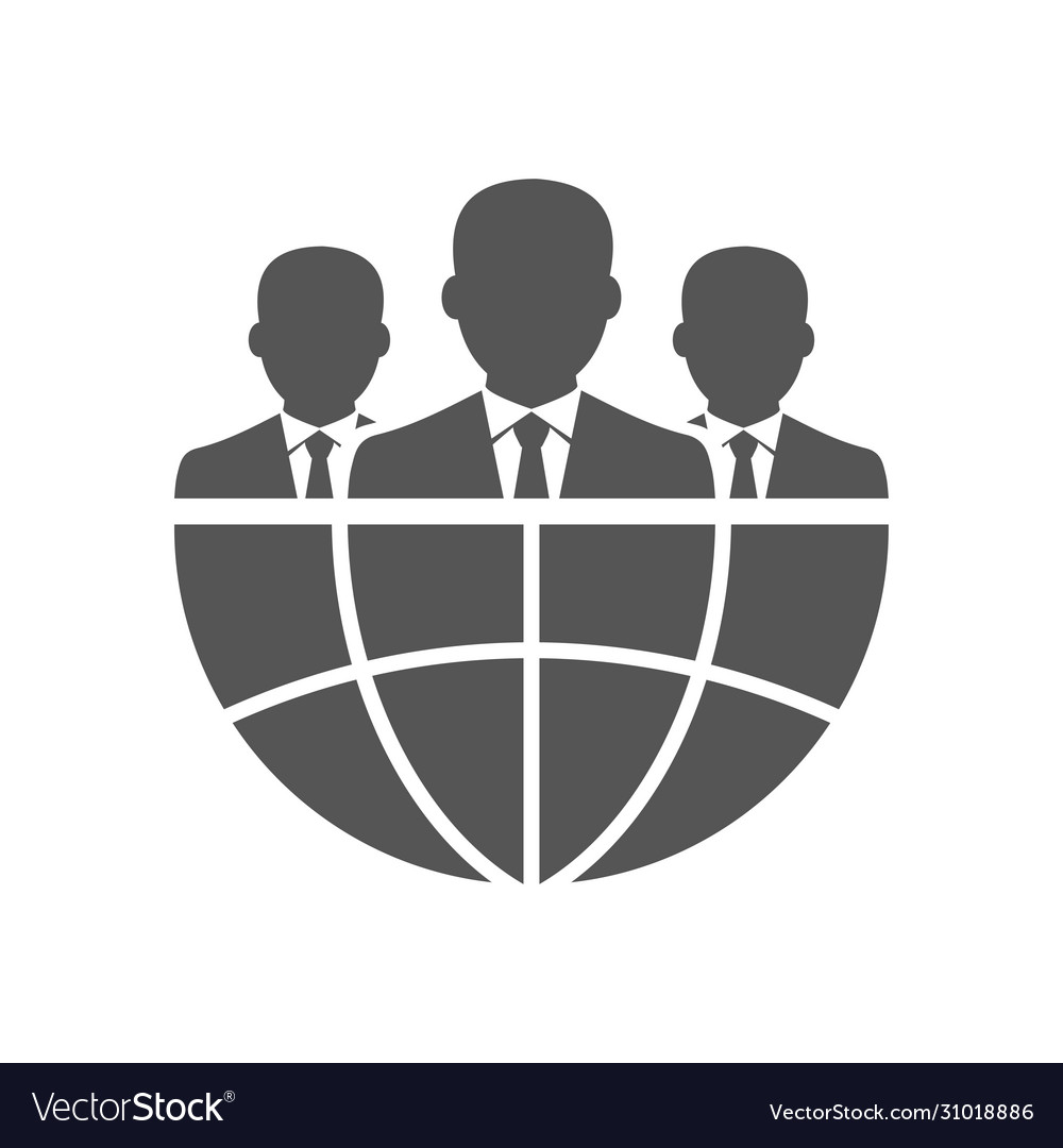 Three businessman silhouettes and earth