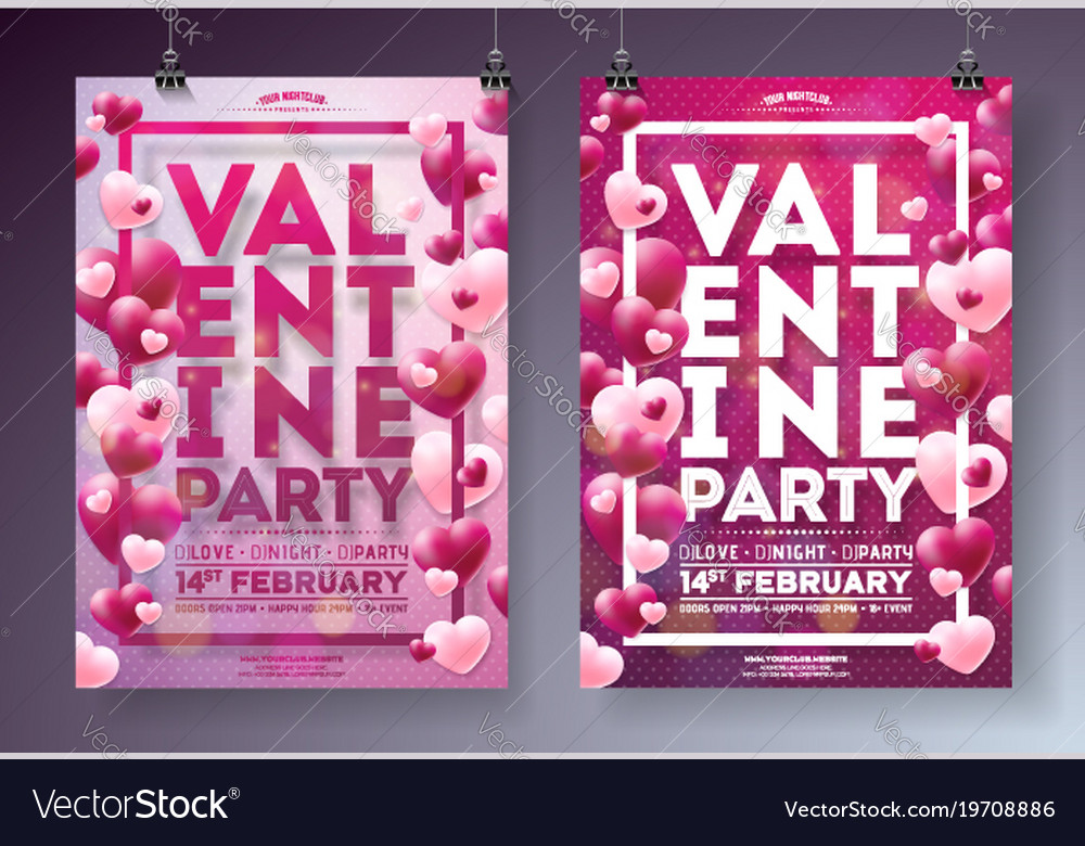 Valentines day party flyer with red
