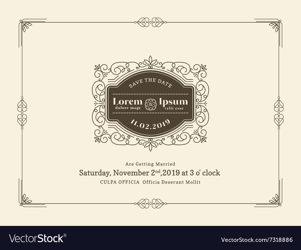 vintage wedding invitation card frame template vector image