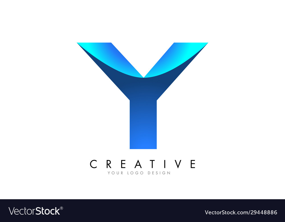 Y letter logo design with 3d and ribbon effect