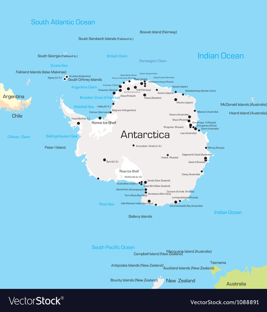 Antarctica Map Royalty Free Vector Image - VectorStock